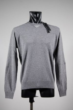 Neck sweater with mixed cashmere patches