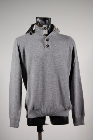 High neck with buttons and zips in mixed cashmere