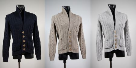 Cardigan with shawl collar slim fit three colors