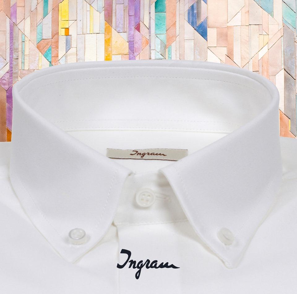 054e2d34e7ffd5 Camicia uomo ingram button down bianca in puro cotone saldi store online