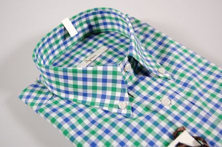 Shirt with button-down collar ingram paintings in two colors