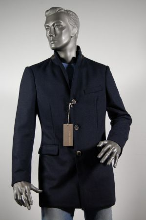 3451bffab5ed3 Cappotto moda uomo blu slim fit John Barritt misto lana sfoderato ...