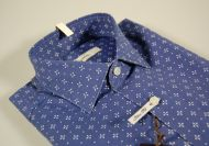 Blue patterned shirt ingram slim fit stretch cotton
