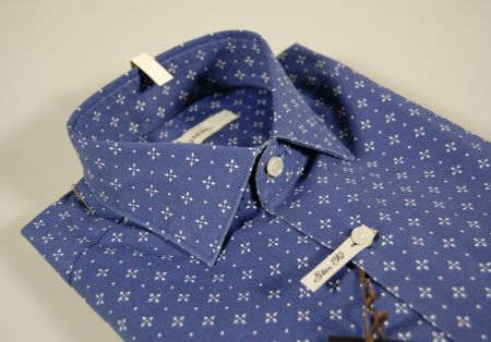 Camicia ingram blu a fantasia slim fit cotone stretch
