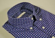 Camicia ingram blu stampa a fiori collo button down
